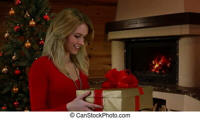 Girl receives a gift