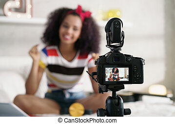 Girl Recording Vlog Video Blog At Home With Camera