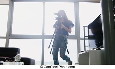 Girl Recording Vlog Video Blog At Home With Digital Camera -...