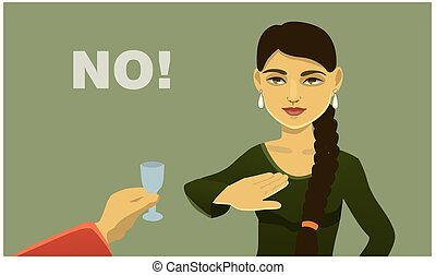 girl refuses to drink alcohol. social poster. vector...