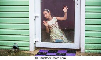 girl, regarde, pluie