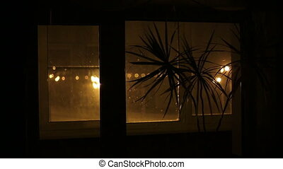 girl, regarder, fenêtre, dehors