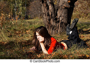 Girl relaxing in the park