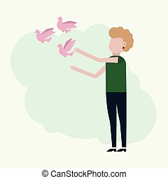 Girl releases pink pigeons, vector illustration on a ...
