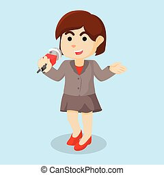 girl reporter cartoon illustration