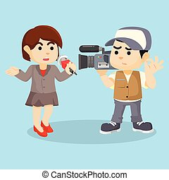 girl reporting news cartoon illustration
