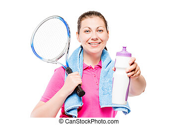 girl resting after training, shows a bottle of water on a white background