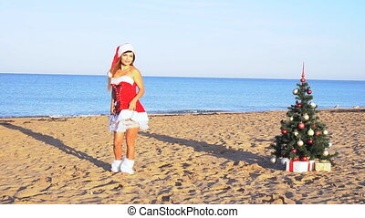 girl resting at a resort on the beach Christmas new year