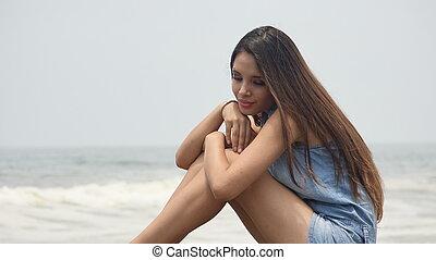 Girl Resting At Beach