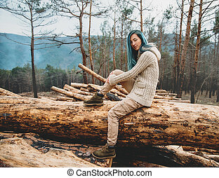 Girl resting in the forest