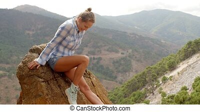 Girl Resting Near Rock in Spanish Mountains on Slow Motion ...
