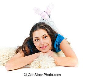 Girl resting on the floor