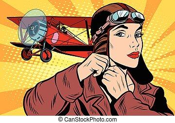 Girl retro military pilot