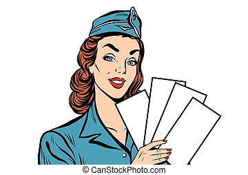 Girl retro stewardess with white forms brochure ticket