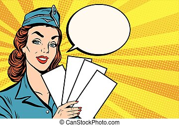 Girl retro stewardess with white forms brochure ticket pop art retro vector. Plane tickets. Aviation and travel. Tourism and recreation