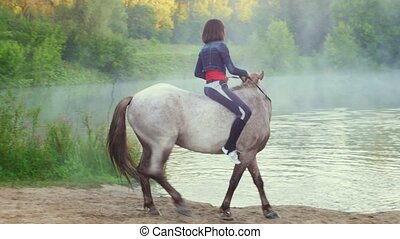 Girl rider riding a horse out of the water in the fog in the...