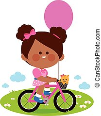 Girl riding a bicycle at the park. Vector Illustration