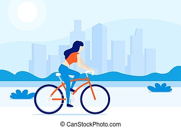 girl riding a bicycle in the city, vector
