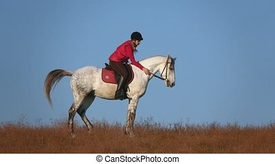 Girl riding a horse strokes and hugs a in the field. Slow...