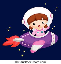 Girl riding a rocket