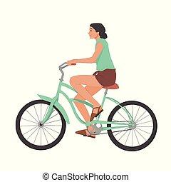 Girl riding bicycle, woman on bike vector