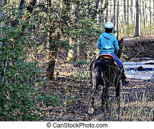 Girl Riding Horse in the Woods