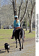 Girl Riding Horse to the Barn