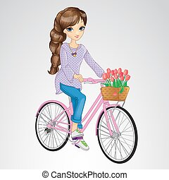 Girl Riding On Pink Bicycle