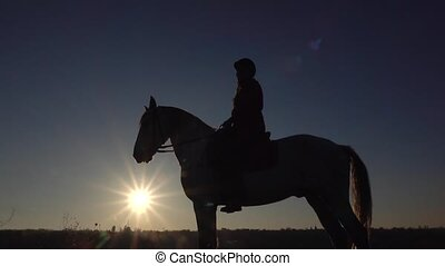 Girl riding on their horse over a meadow. Silhouette. Slow...