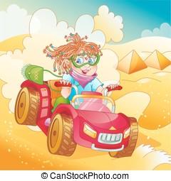 Girl riding quad bike - Little girl riding quad bike in...