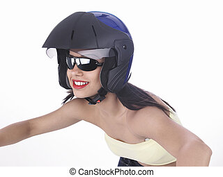 girl riding with a black helmet