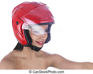 girl riding with a red helmet