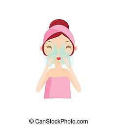 Girl Rinsing Her Face