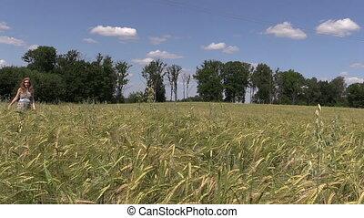 girl ripe rye field sky