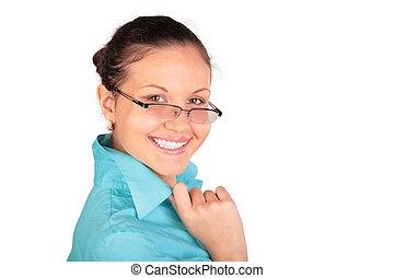 girl, rire, jeune, lunettes
