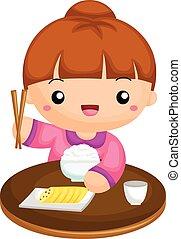 girl, riz, manger