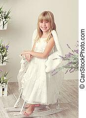 girl, robe, ange