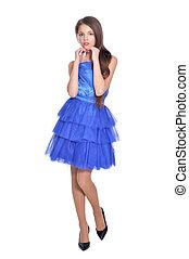 girl, robe, bleu, beau