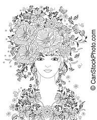 girl, robe, coiffure, fantaisie, fleur, ton, fée, fleur