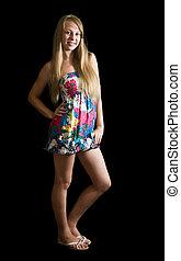 girl, robe, coloré