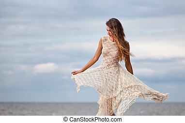 girl, robe, mer, contre, moitié transparent