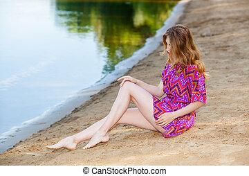 girl, robe rose, plage, beau