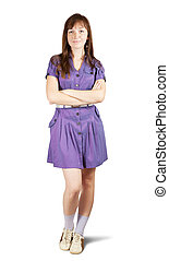 girl, robe violette