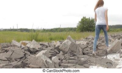girl, rochers, sauter, nature