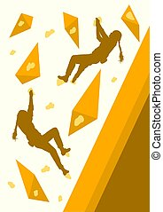 Girl rock climbing vector background abstract