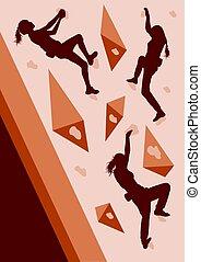 Girl rock climbing vector background abstract