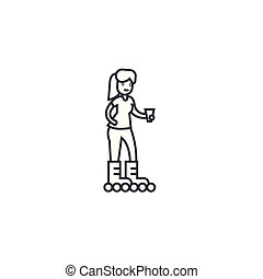 girl roller skating vector line icon, sign, illustration on...