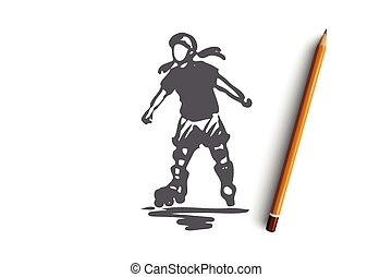 Girl, rollerblading, skate, child, active concept. Hand drawn isolated vector.