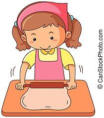 Girl rolling flour dough on wooden board