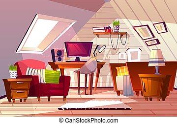 Girl room at garret attic vector illustration